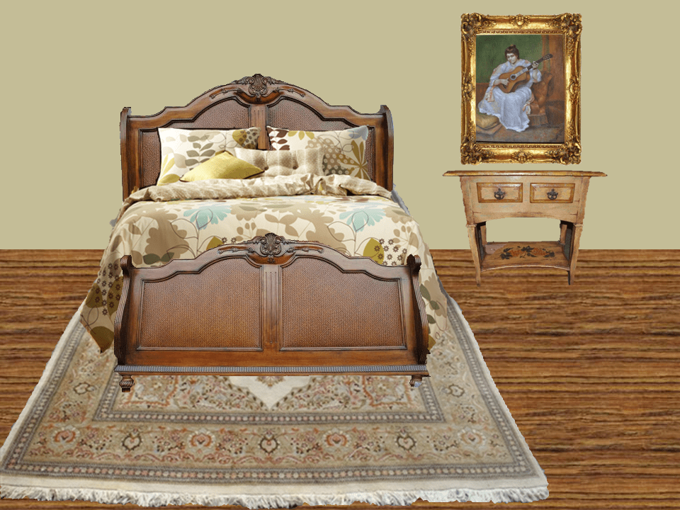 Here is a beautiful bedroom layout created using items found at Aardvark Antiques.