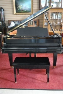 Weber Ebony Mahogany Baby Grand Piano & Bench