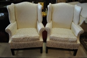 Antique Chippendale Style Cream Silk Brocade Wing Back Chairs